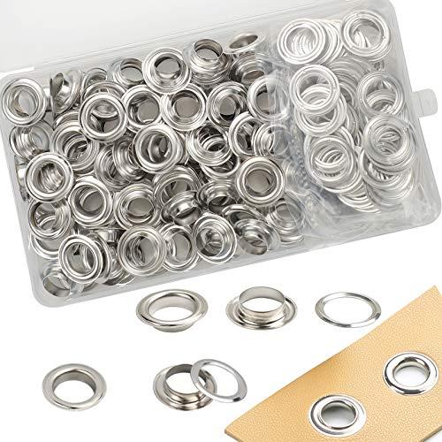Grommet Kit,Grommets 1/2 inch Refill Metal Eyelets Kit for Fabric Curtains