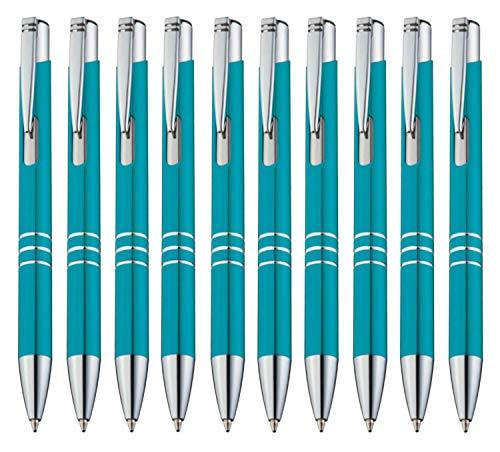 StillRich Industries 10 Stück türkise Metall Kugelschreiber Set Premium Kulli, ballpoint pen, hochwertige, ergonomische und blauschreibende Kugelschreiber (türkis)