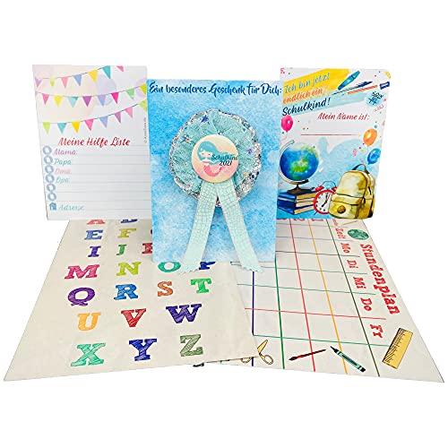 AnneSvea Orden 2021 zestaw w kształcie mięty, z planem lekcji i plakatem ABC, rożek szkolny, rożek na słodycze, dekoracja, prezent, upominek