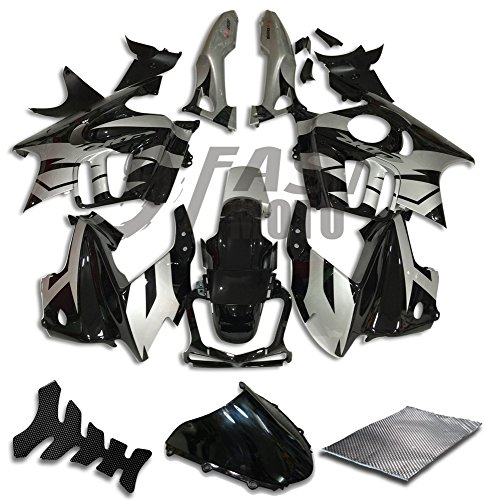 9FastMoto Fairings for honda 1997 1998 CBR600F3 CBR600F 97 98 CBR 600 F3 Motorcycle Fairing Kit ABS Injection Set Sportbike Cowls Panels (Black & Silver) H0734