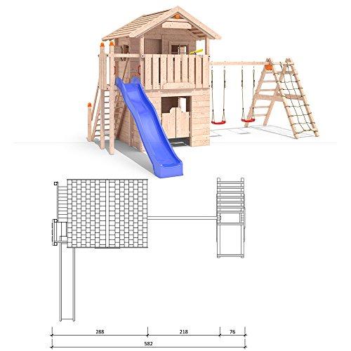 ISIDOR Western Inn Spielturm Kletterturm Rutsche 2 Schaukeln Baumhaus (erweiterter Schaukelanbau inkl. 2 Schaukeln)