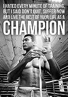MUHAMMAD ALICHAMPIONボクシングモチベーションアートプリントポスターホームウォールデコレーションペインティングキャンバスウォールアートホームデコレーション50x75cmフレームなし