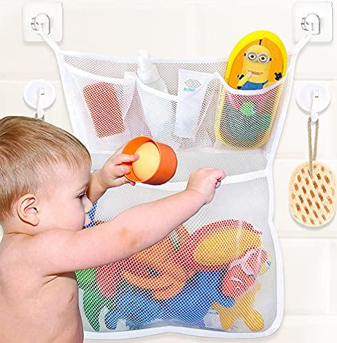 Bath Toy Organizer for Tub, Baby Bath Toy Holder, Mesh Bath Toy Storage Corner, Bathtub Toy Holder, Bathroom Toy Storage for Tub Toy Holder, Bath Toy Net Caddy Basket, Bath Toy Holders for The Tub