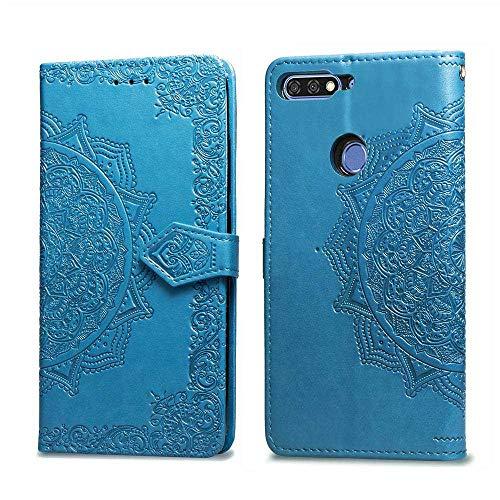 Bear Village Hülle für Huawei Honor 7C / Huawei Y7 2018, PU Lederhülle Handyhülle für Huawei Honor 7C / Huawei Y7 2018, Brieftasche Kratzfestes Magnet Handytasche mit Kartenfach, Blau