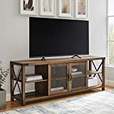 Walker Edison Modern Farmhouse Metal X Wood Stand Storage Cabinet for TV's up to 64' Living Room (70 Inch) - Reclaimed Barnwood