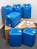 API Kirk Containers 5 Gallon Samson Stackers, Blue, 6 Pack (30 Gallons), Emergency Water Storage Kit...