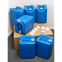 API Kirk Containers 5 Gallon Samson Stackers, Blue, 6 Pack (30 Gallons), Emergency Water Storage Kit – New! – Clean…