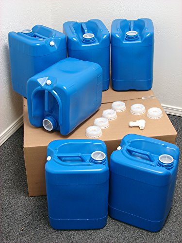 API Kirk Containers 5 Gallon Samson Stackers, Blue, 6 Pack (30 Gallons), Emergency Water Storage Kit - New! - Clean! - Boxed! Kit Includes one Spigot & Wrench 3