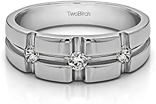 TwoBirch Sterling Silver Cross Designed Men's Wedding Ring With Cubic Zirconia (0.3Ct. Size 9)