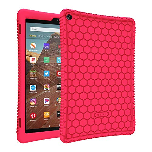 Fintie Silikon Hülle kompatibel mit Amazon Fire HD 10 Tablet (9. & 7. Generation - 2019 & 2017) - Leichte rutschfeste Stoßfeste Silikon Tasche Hülle Kinderfre&liche Schutzhülle, Magenta