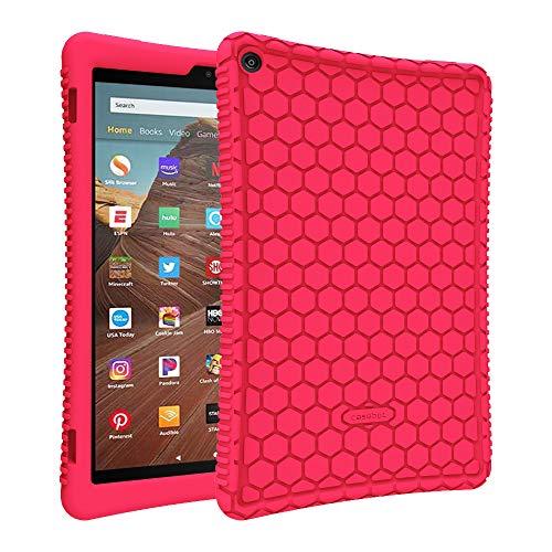 Fintie Silikon Hülle für Das Neue Amazon Fire HD 10 Tablet (9. & 7. Generation - 2019 & 2017) - Leichte rutschfeste Stoßfeste Silikon Tasche Case Kinderfre&liche Schutzhülle, Magenta