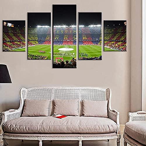 Póster impreso de 5 piezas Fc Barcelona Sport Football Pitch Fútbol Campo de Fútbol Arte de Pared Lienzo HD Cuadro Cuadro Cuadro Salón Decoración del Hogar