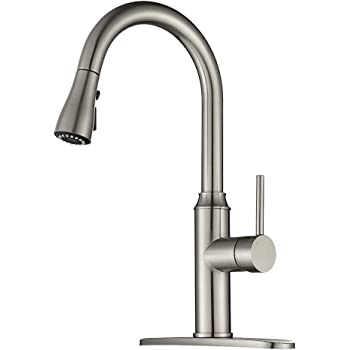 Kitchen Faucet Pull Down-Arofa A01LY Commercial Modern Single Hole Single Handle high arc Stainless Steel Brushed Nickel Kitchen Sink faucets with Pull Out Sprayer