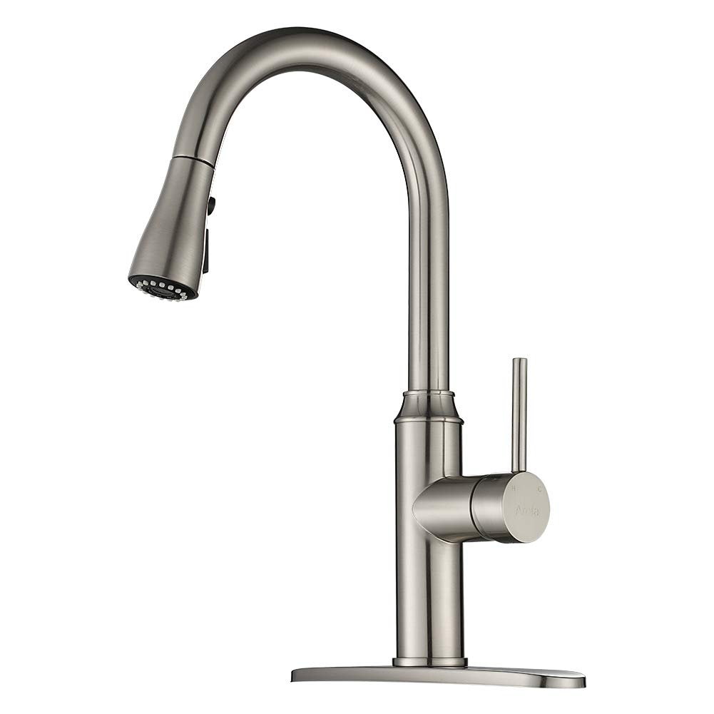 Kitchen Faucet Pull Down Arofa A01ly Commercial Modern Single Hole Single Handle High Arc Stainless Steel Brushed Nickel Kitchen Sink Faucets With Pull Out Sprayer Amazon Com