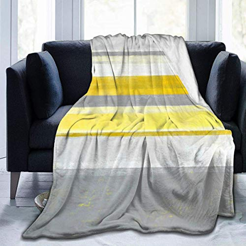 AEMAPE Manta de Lana Gris limón y Amarilla para Arte Abstracto, Manta Liviana, súper Suave y acogedora, Manta cálida para la Sala de Estar/Dormitorio, Todas Las Estaciones, 50 x 60 Pulgadas
