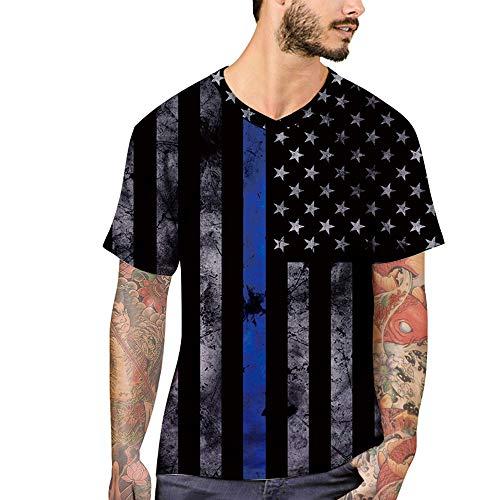 RUIXIAO Herren Kurzarm T-Shirt V-Ausschnitt Lässige Kleidung Tops Halbe Ärmel 3D Stars and Stripes Print Shirt Atmungsaktiv Schnelltrocknend Sport Komfort,Stripe,M