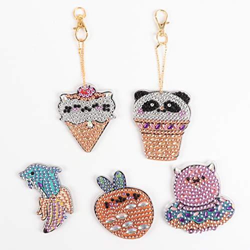 5 Piezas de Llavero de DiamantesDIY Panda Delfín kits de Pintura Lindo Llavero Arte Artesanía Llavero Colgante para Niños y Adultos Bolso Colgante Regalo de Cumpleaños