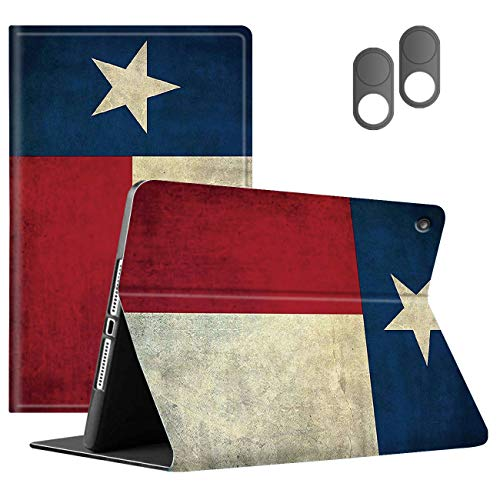 Case Compatible with fire Tablet 10.1 inch (9th 7th 5th Gen),Fire HD 10 Tablet,PU Leather Slim Folding Stand Cover with Auto Wake/Sleep + 2 Webcam Covers,Retro Vintage American Flag