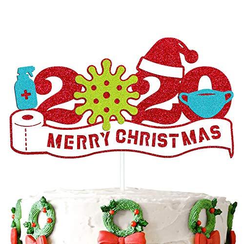 2020 Christmas Cake Topper Merry Christmas Quarantine Mer Xmas Cake Decorations Green Tree Santa Winter Snowflake Snowman New Year Theme Christmas Party Supplies Red Glitter Decor