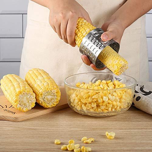 Corn Stripper Cutter, 3 PCS Cob Corn Peeler, Stainless Steel Corn Cob Peeler, Stainless Steel Corn Thresher Peeler, Corn Kernel Cutter, Stripping Tool Corn Remover for Home and Kitchen