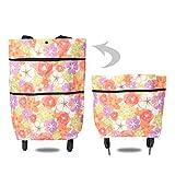 Foldable Shopping Bag With Wheels, Folding Shopping Bags, Reusable Supermarket Shopping Bags With Wheels Foldable Trolley Bag Shopping Cart (Flower)