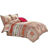 Wake In Cloud - Bohemian Comforter Set, Orange Boho Chic Mandala Medallion Pattern Printed, Soft Microfiber Bedding (3pcs, King Size)