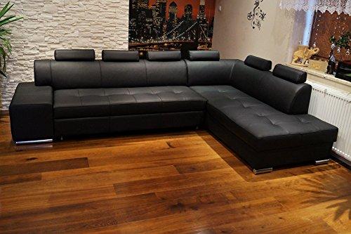 Quattro Meble Echtleder Ecksofa London PIK 6z 300 x 200 Sofa Couch mit Schlaffunktion, Bettkasten und Kopfstützen Echt Leder Eck Couch große Farbauswahl