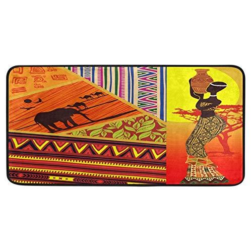 Felpudo grande étnico tribal mujer africana elefante boho, felpudos antideslizantes para interiores y niños, felpudos de exterior, lavables para cocina, dormitorio, 99 cm x 51 cm