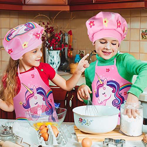 Tacobear 16 Stücke Koch-und Backset für Kinder Einhorn Schürze Kochmütze Outfit Kinderküche Rollenspielsets mit Schürze, Kochmütze, Utensilien für Mädchen und Jungen - 7