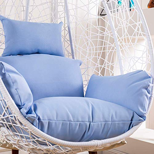 COLOM Swing Hanging Basket Seat Cushion,Thicken Hanging Egg Hammock Chair Cushion Without Stand Large Chair Pad Waterproof Nest Back with Pillow Red (Color : Blue)