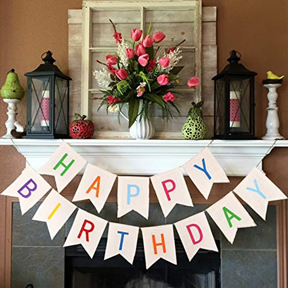 Burlap Happy Birthday Banners for Adults Kids Colorful Bunting Garland Flags for Birthday Party Decorations VAG041W