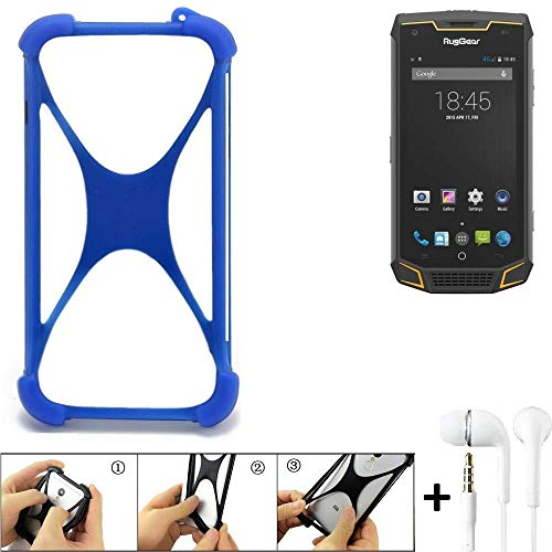 K-S-Trade® Handyhülle Für Ruggear RG740 Bumper Schutzhülle Silikon Schutz Hülle Cover Case Silikoncase Silikonbumper TPU Softcase Smartphone, Blau (1x), Headphones