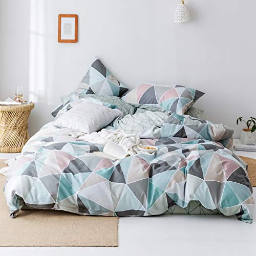 Geometric Duvet Cover Set Queen,100% Cotton Reversible Colorful Duvet Cover Matching 2 Pillow Shams,3 Pieces Diamond Bedding Set with Out Comforter-Full/Queen,Diamond