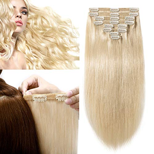 S-noilite 20Inch Clip in Hair Extensions Real Human Hair Double Weft Blonde 150g Thick Soft Clip in Long Extension 8pcs 18 Clips Natural Brazilian Hair For Gift #60 Platinum Blonde