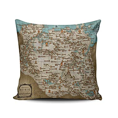 SALLEING Custom Fashion Home Decor Pillowcase The Elder Scrolls V Skyrim Map Square Throw Pillow Cover Cushion Case 20x20 Inches One Sided Print