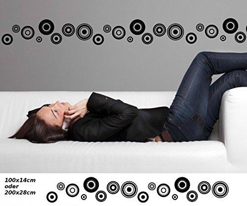 Wandtattoo selbstklebend Bordüre Retro Style Kreis Quadrat Streifen Set Kreise Banner Aufkleber Wohnzimmer 1U142, Farbe:Schwarz Matt;Länge x Breite:100cm x 14cm