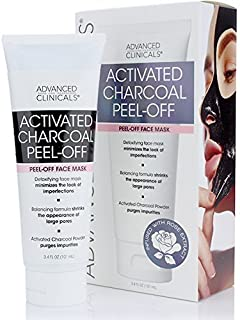 Advanced Clinicals Activated Charcoal Peel Off Face Mask for Large Pores, and Oily Skin. Tightens and Firms skin with Tea tree oil, Witch Hazel and natural extracts. 3.4oz Tube