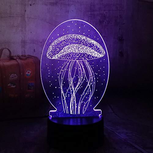 jiushixw 3D acryl nachtlampje met afstandsbediening kleurverandering lamp kwallen doorschijnend bruiloft verjaardag transparante tafellamp