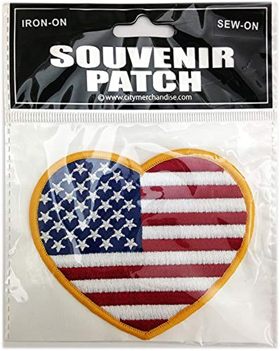 American Flag Patch Heart Shaped Embroidered Sew-on Iron-on Approximately 3.5 x 3 inch Beautiful Gift Materials USA Show Off Your Patriotic Spirit