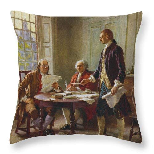 Lplpol Writing The Declaration of Independence Throw Pillow Covers Cotton Linen Square Decorative Throw Cushion Cover 20 x 20