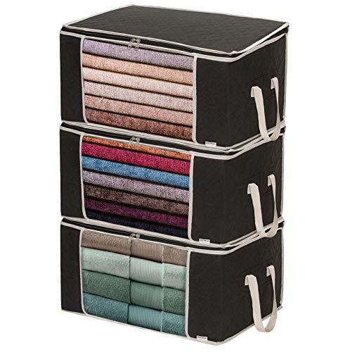 Housum ® 3 Aufbewahrungstaschen für Bettdecken und Kissen   Kleiderbox   Mit Griffen, die Nicht reißen   Reißverschluss schließt gut   Kleider Organizer   B 60 cm, H 30 cm, T 40 cm