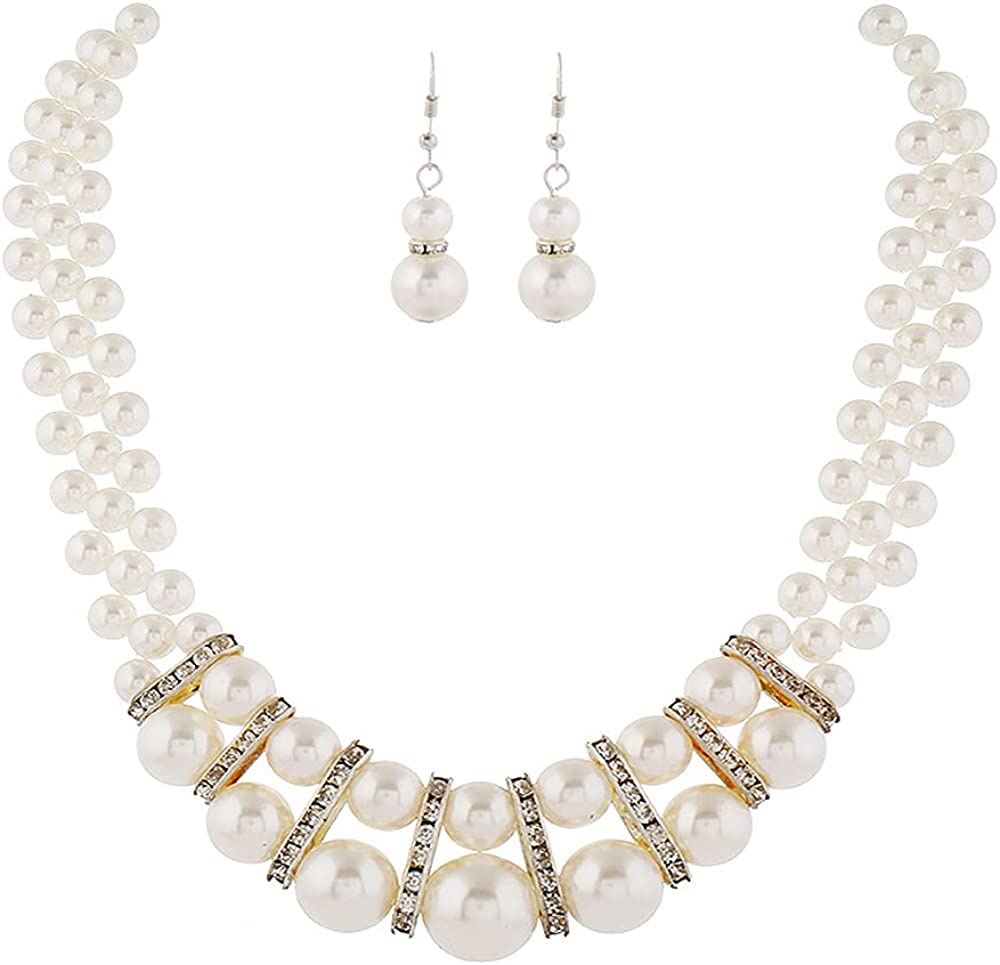 Womens Faux Big Pearl Crystal Choker Necklace and Drop Earring Set Fashion Large Simulated Pearl Statement Collar Bib Necklace Earrings Costume Jewelry Set