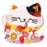 FLUFFY SENSE. Cute Change Purse Coin Purse Quarter Bag Cosmetic Key Holder Japanese Kimono Fabric Maneki Neko Lucky Cat (Hot Pink/Orange)