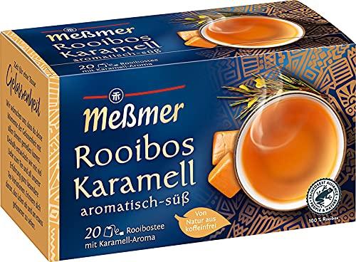 Meßmer Rooibos-Karamell Tee | aromatisiert | 20 Teebeutel | Vegan | Glutenfrei | Laktosefrei | Von Natur aus koffeinfrei