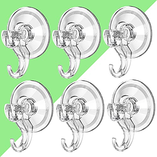 LUXEAR Suction Cup Hooks- 6 Pack Reusable Suction Hooks- Powerful...