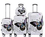 BEIBYE Butterfly 2060 4tlg Reisekoffer Trolley Hartschalen Kofferset (4er Set)