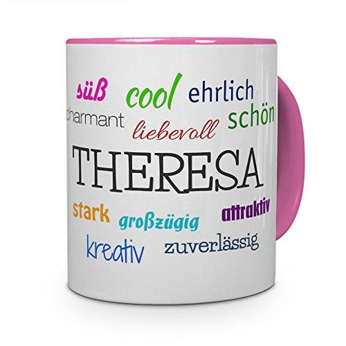 printplanet Tasse mit Namen Theresa - Positive Eigenschaften von Theresa - Namenstasse, Kaffeebecher, Mug, Becher, Kaffeetasse - Farbe Rosa