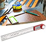 Oumefar Display LCD ad Alta precisione Spegnimento Automatico Goniometro Digitale elettronico Righello angolare Digitale per la Lavorazione del Legno(0-300mm)
