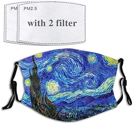 Starry Night by Vincen Van Gogh Face Cover Mouth Mask with Adjustable Ear Straps Breathable product image