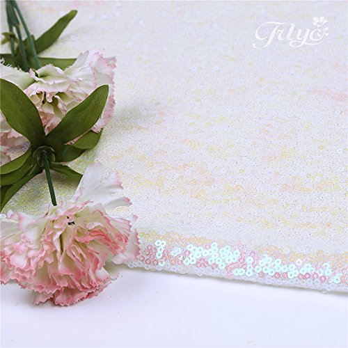 TRLYC 4ftx16ft Sequin Floor Aisles Runner for Wedding Wedding Aisle Runner-Iridescent